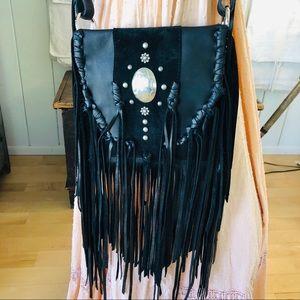 ♥️ Whiskey Lee ♥️ Black Fringe Crossbody Bag